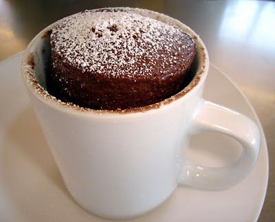 Cake in a Mug... I make this and omit the egg...its just as good. Great for that late night snack..