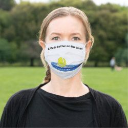 Tennis Ball Life Better On The Court With Racket Cloth Face Mask Zazzle Com In 2020 Face Mask Mask Face