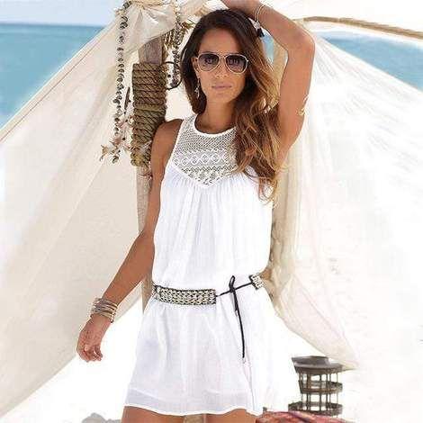 Womens Ladies Chiffon Sleeveless Mini Dress Summer Holiday Beach Party Dresses