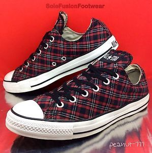 Converse Mens All Star Tartan Trainers Black Red size 8