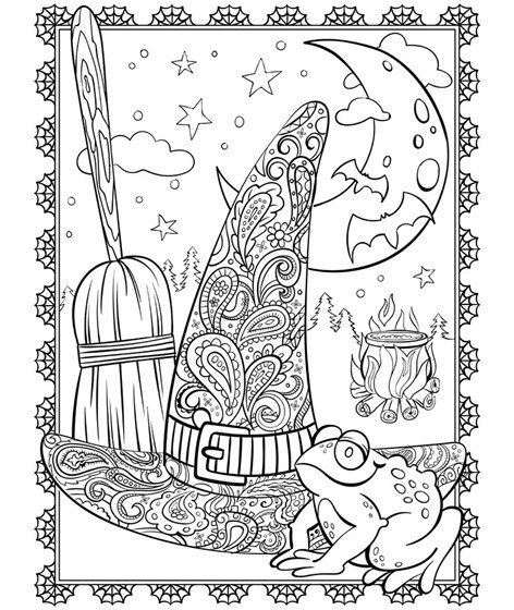 A Witchy Illustration You Might Be Excited To Add Some Color To If Just The Thought Of Halloween Aka The Coolest Holiday Ever Sparks Major Joy Witch Coloring Pages Halloween Coloring