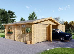 Garage En Bois 44 Mm 4x6 M Carport Double 5 5x6 M 57 M