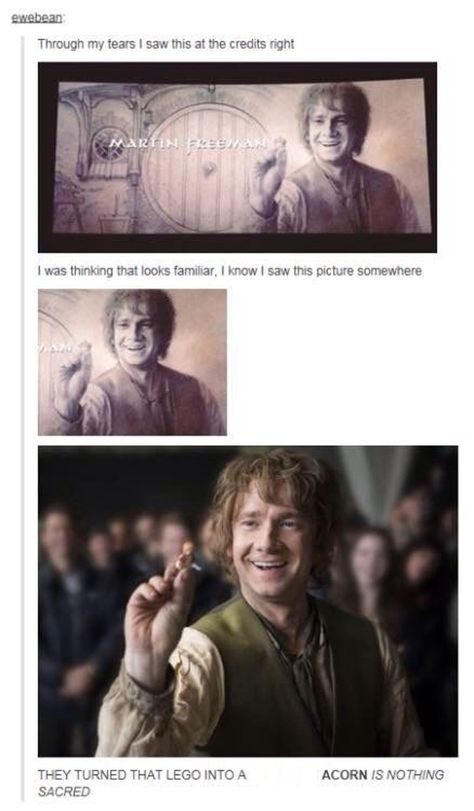 """""""They turned that leto into an acorn; is nothing sacred?"""" Oh, Martin Freeman xD (The Hobbit end credits) Dc Memes, Funny Memes, Hilarious, Martin Freeman, Narnia, Lego Batman, O Hobbit, J. R. R. Tolkien, Bilbo Baggins"""