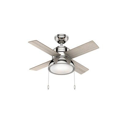 Hunter Fan 36 Loki 4 Blade Led Standard Ceiling Fan With Pull Chain And Light Kit Included Wayfair In 2021 Ceiling Fan With Light Ceiling Fan Fan Light 36 outdoor ceiling fan