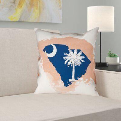 East Urban Home South Carolina Flag Euro Pillow Size 26 X 26 Color Orange 1000 Suede Throw Pillows South Carolina Flag Linen Throw Pillow