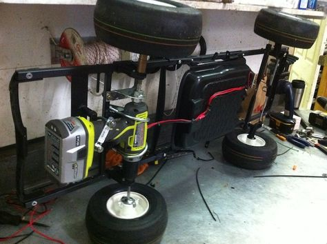 Modified Power Wheels Race Cars with Variable Speed Pedal and Rubber Tires