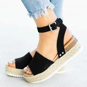 Ladies Buckle Strap Espadrilles Summer Shoes Womens High Heel Wedge Sandals Size