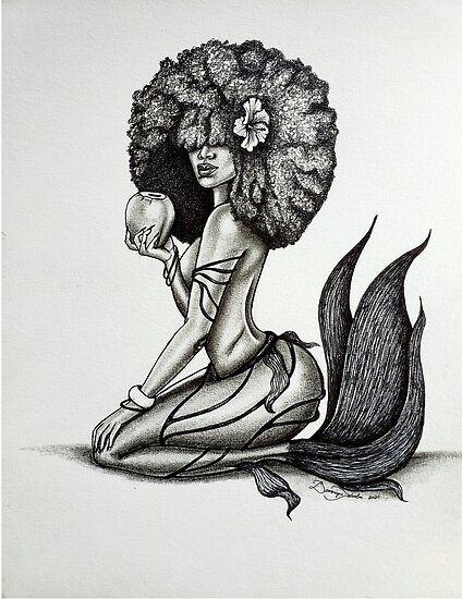 Baby Tattoos, Head Tattoos, Girl Tattoos, Tribal Foot Tattoos, Mermaid Tattoos, Black Love Art, Black Girl Art, Art Girl, Pin Up Girl Tattoo