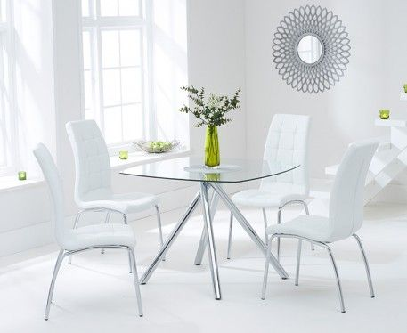 Elva 100cm Glass Dining Table With Calgary Chairs Glass Dining Table Square Dining Tables White Dining Chairs