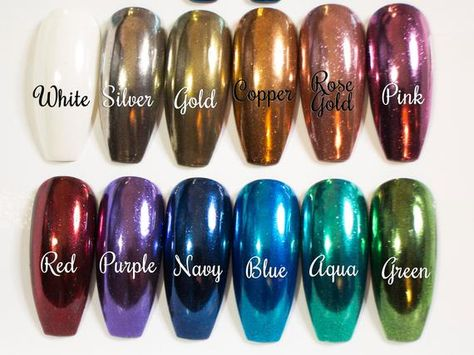 Chrome Press On Nails Stiletto Fake Nails Pointy False   Etsy