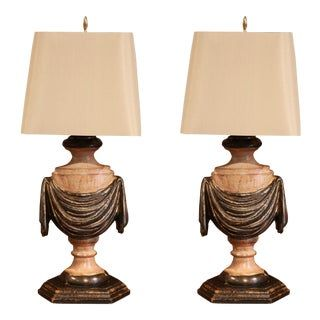 Italian Carved Lamp Bases With Polychrome Antique Painted Finish A Pair For Sale In 2020 Antique Paint Wood Lamp Base Lamp Bases