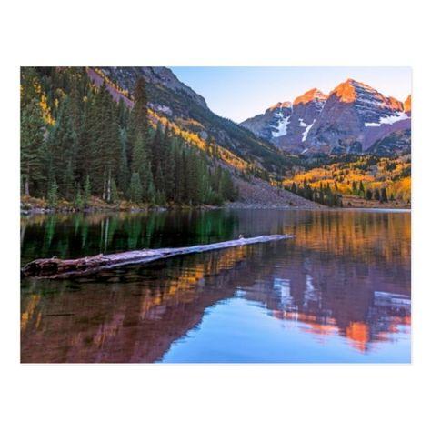 Maroon Bells Alpen Glow Postcard - tap, personalize, buy right now! #Postcard #landscape, #aspen #- #colorado, #scenics,