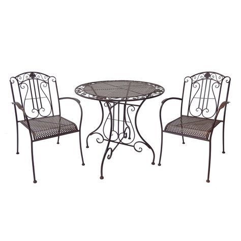 Wrought Iron 3 Piece Outdoor Setting
