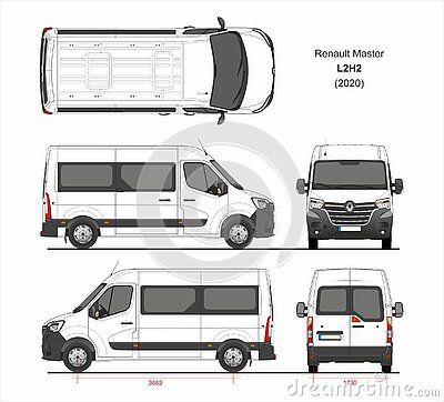 Renault Master Passenger Van L2h2 2020 Detailed Template Design Production Vehicle Wraps Scale 1 To 10 Carro De Papelão Auto Carros