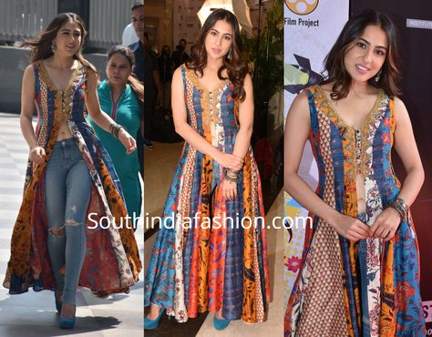 Sara Ali Khan attended an event recently wearing a multi-colored slit kurta by Ritu Kumar with blue jeans. A pair of blue suede pumps, silver jewelry and wavy hair rounded out her look!