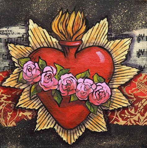 Sacred Heart Painting - Sacred Heart No. 1 by Candy Mayer Mayan Symbols, Celtic Symbols, Ancient Symbols, Egyptian Symbols, Mexican Paintings, Sacred Heart Tattoos, American Indian Tattoos, Frida Art, Wiccan Tattoos