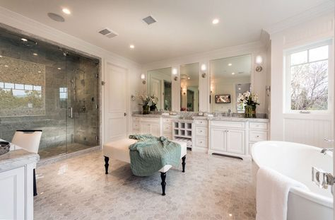 Luxury Master Bathroom Suite With White Double Sink Vanity And Large Gl Rainfall Shower