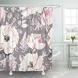 Tompop Shower Curtain Pink Flowers And Leaves On Gray Watercolor