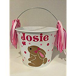 Personalized 5 quart Easter pail Easter basket girl bunny