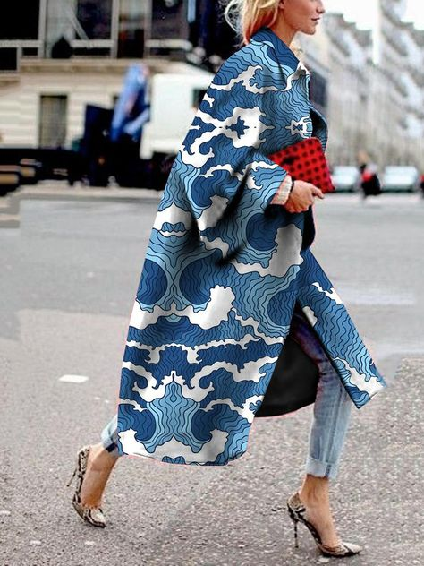 Fashion Printed Color Turndown Collar Loose Coat : Autumn and winter fashion street and office style! Plus size and solid color design chic comfortable coats and jackets for women you can option.