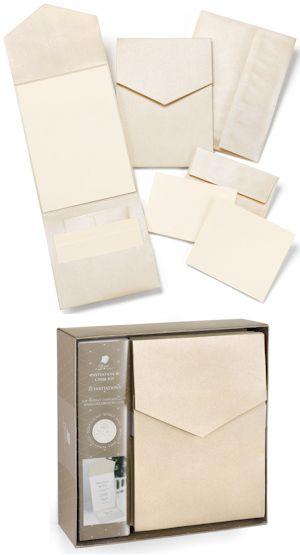 DIY Champagne Shimmer Pocket Wedding Invitation Kit (Set of 25) for $28.50
