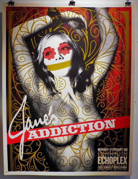 Janes Addiction- Echoplex by MFG- This music gig poster commemorates the February 16th 2014 Janes Addiction concert at Echoplex in Echo Park CA. The artwork depicts a nude woman from the waist up with arms back while various stylized lines and designs are superimposed across the image. Limited edition silkscreen art print artwork by famous artist MFG.