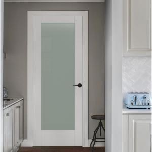 Jeld Wen 36 In X 96 In Moda Primed White 1 Lite Solid Core Wood Interior Door Slab With Translucent G Glass Doors Interior Doors Interior Wood Doors Interior
