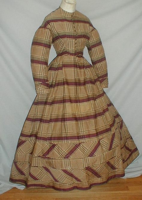 Plaid 1860's Day Dress