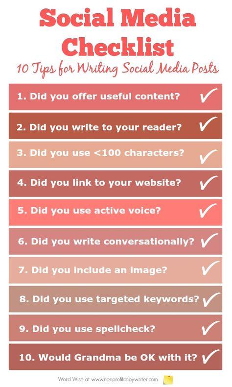 Social Media Checklist: 10 Tips for Writing Good Social Media Posts