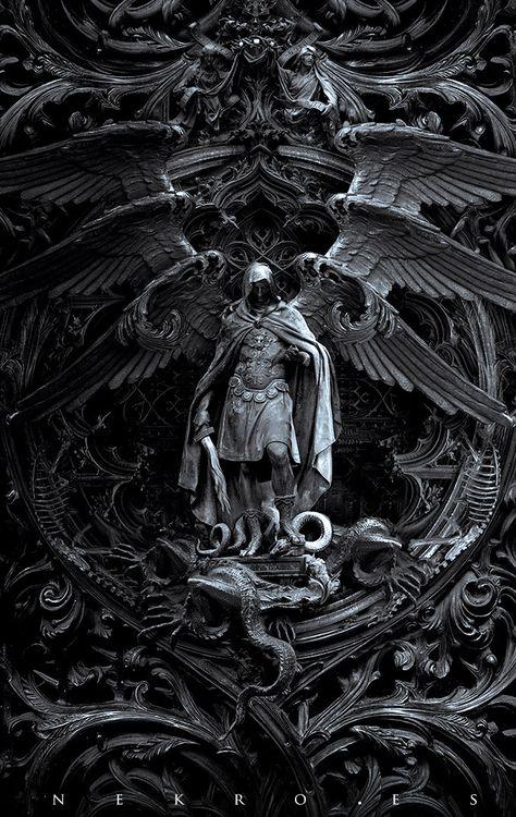 "The art of Nekro - photomanipulation - Archangel Michael kills Satan; titled, ""Three circles of hell"" Dark Fantasy Art, Dark Art, Final Fantasy, Statues, Archangel Tattoo, Archangel Azrael, Art Noir, Arte Obscura, Angel Warrior"