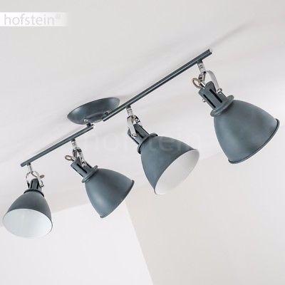 Pendelleuchte Hängelampe Vintage Abhängung Suspension Silber Stoff grau mit LED
