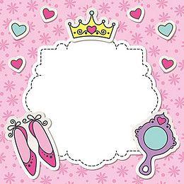 Vector Pink Princess Girl Birthday Background Princess Frame Birthday Background Pink Princess