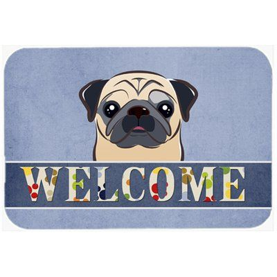 Caroline S Treasures Pug Welcome Kitchen Bath Mat Size 20 W X 30