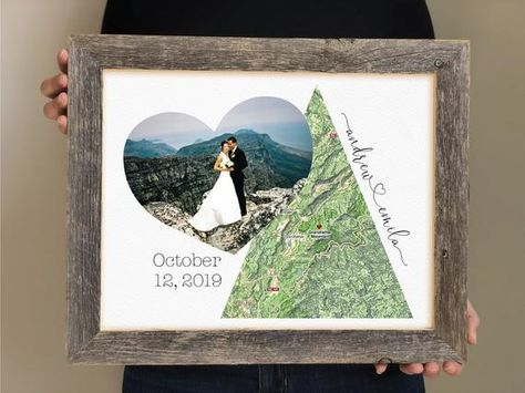 Wow this special couple with a print that is personalized through and through! Display a picture from their engagement day, location, date and names in a unique and beautiful way! ↓↓↓ HOW TO ORDER↓↓↓Choose your print and framing option from the drop down menu, then please give the following information in the personalization box:1. The NAMES2. The LOCATION you want featured in the map {We can find big and small towns, domestic and international! International will have native language.} We can c