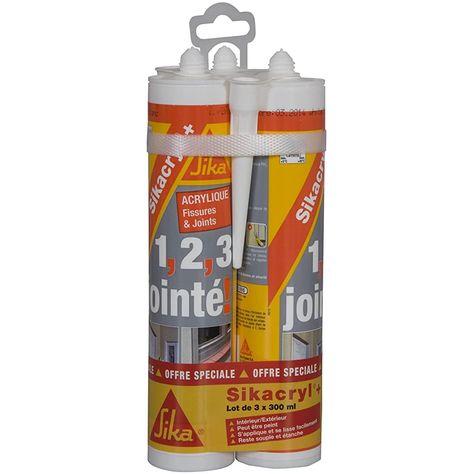 Sikacryl Mastic acrylique spécial fissures pour finitions et joints en intérieur et extérieur Lot de 3 cartouches 300ml Blanc