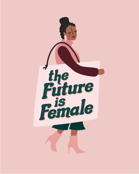 The Future is Female Illustrated Art Print - Feminist Art Print - Protest Art Print Mini Art Print by Red Met Yellow - Without S