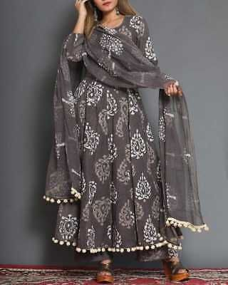 Indian Style pakistani kurta dress With dupatta pant Flared Top Tunic Set blouse