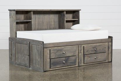 Summit Grey Twin Bookcase Daybed Bed With 2 Drawer Captains Trundle Daybed Bedding 4 Drawer Storage Unit Bed With Drawers Underneath Daybed with storage drawers underneath