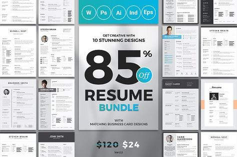 Top 10 Resume\/CV Bundle - $120 worth of resumes for just $24 - four types of resumes