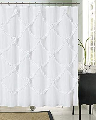 Amazon Com Dosly Home White Ruffle Pintuck Fabric Shower Curtain