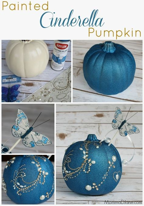 Turn a plastic pumpkin into a sparkling blue Cinderella pumpkin with gold accents. This Cinderella inspired pumpkin includes blue glitter spray paint and stick-on rhinestones with a Fairy God-mother wand. Step-by-step instructions with photos. Cinderella Sweet 16, Cinderella Theme, Cinderella Birthday, Cinderella Wedding, Cinderella Centerpiece, Cinderella Crafts, Cinderella Decorations, Cinderella Pumpkin Carriage, Cinderella Party Food