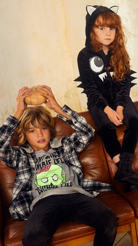 Say boo in pretty dresses, scary T-shirts and spooky prints: thrilling fashion for style-savvy kids.