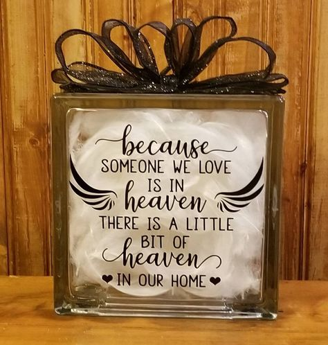 Because Someone We Love Is Heaven Glass Block Christmas Glass Blocks, Christmas Lanterns, Christmas Wood, Christmas Signs, Painted Glass Blocks, Lighted Glass Blocks, Decorative Glass Blocks, Brick Crafts, Tile Crafts