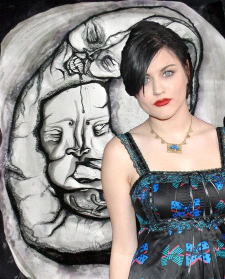 Frances Bean Cobain and one of her paintings