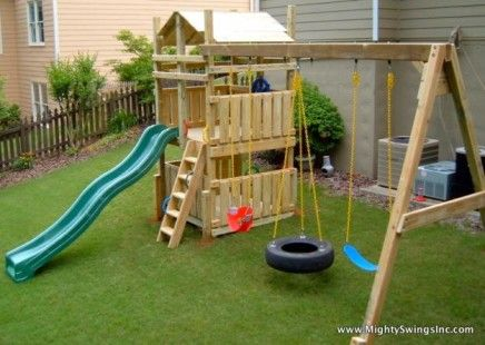 Small backyard landscaping ideas for kids with playground and swing sets - List Of Pinterest Smalle Backyard For Kids Swing Sets Ideas & Smalle