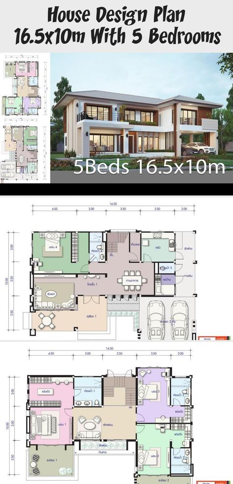 House Design Plan 16 5x10m With 5 Bedrooms Home Design With Plansearch Houseplansdesign Vintag In 2020 Home Design Plans Affordable House Plans Vintage House Plans