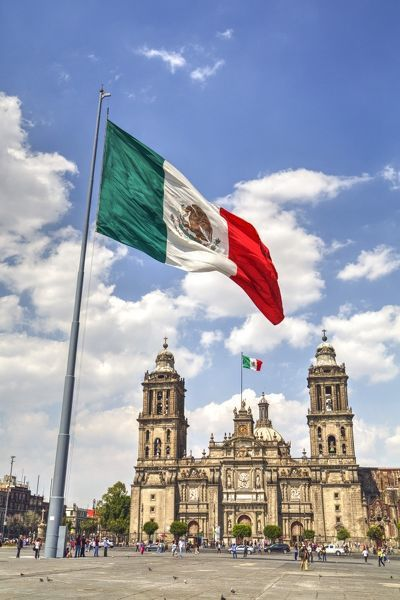 Print Of Mexican Flag Plaza Of The Constitution Zocalo Metropolitan Cathedral In Background In 2020 Mexican Flags Mexico Wallpaper Mexico Culture
