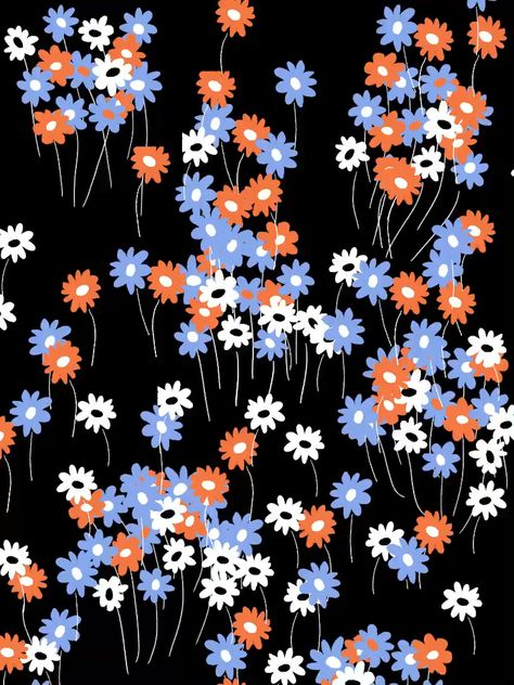Liberty, ditsy, calico!! Orange, blue and white little cute floral design style