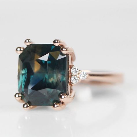 carat Gia Certified Blue-green natural untreated Sapphire, in a custom Imogene setting, gold. She comes with a lifetime care plan… Cute Jewelry, Jewelry Box, Jewelry Rings, Jewelery, Laura Lee, Or Rose, Rose Gold, Color Change Sapphire, Diy Garden
