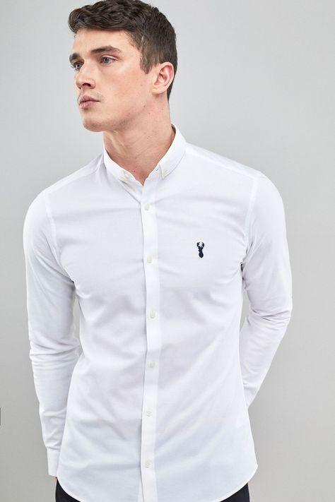 Mens Next White Skinny Fit Long Sleeve